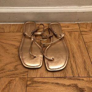 Never worn Banana republic gold thong sandal